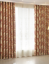 Rod Pocket Grommet Top Tab Top Double Pleat Pencil Pleat Two Panels Curtain Modern , Jacquard Kids Room Polyester Material Blackout