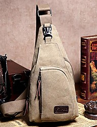 Unisex Bags All Seasons Canvas Sling Shoulder Bag for Casual Sports Outdoor Gray Brown Army Green Blue Khaki
