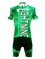 cheap -ILPALADINO Men's Short Sleeve Cycling Jersey with Shorts - Green Bike Shorts / Jersey / Clothing Suit, 3D Pad, Quick Dry, Ultraviolet Resistant, Breathable Lightning / Stretchy