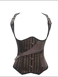 cheap -Shaperdiva Women's Gothic Steampunk Underbust Steel Boned Corset Waist Cincher with Strap