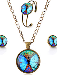 Lureme® Time Gem Series  Vintage Style Fluorescent Big Butterfly Pendant Necklace Stud Earrings Bangle Jewelry Sets