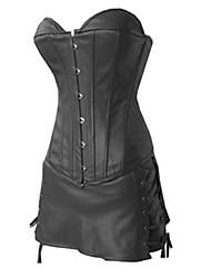 preiswerte -Lolita Kleid Punk Korsett Cosplay Schwarz Solide