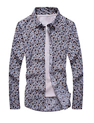 cheap -Men's Daily Formal Shirt,Print Long Sleeves Cotton