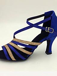 Women's Dance Shoes Satin Satin Latin Sandals / Heels Stiletto Heel Practice / Beginner / Indoor / Performance Blue Customizable