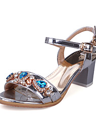 cheap -Women's Shoes Leatherette Spring Summer Comfort Sandals Chunky Heel Open Toe Buckle for Casual Dress Gold Silver Purple