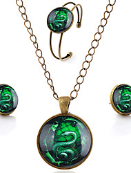 Lureme® Time Gem Series Simple Vintage Style Green Snake Pendant Necklace Stud Earrings Bangle Jewelry Sets