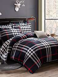 Streifen Bettbezug-Sets 4 Stück Baumwolle Zeitgenössisch Reaktivdruck Baumwolleca. 1,50 m breites Doppelbett ca. 1,90 m breites