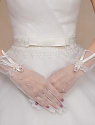economico -Tulle Al polso Guanti Guanti da sposa Da sera/eleganti With Fiocco Perline Fantasia floreale