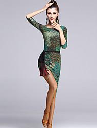 cheap -Latin Dance Dresses Women's Performance Viscose Draped 1 Piece Dress