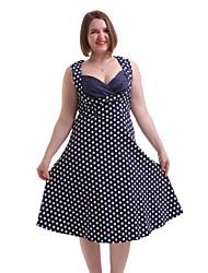 billige -Damer Vintage I-byen-tøj Afslappet/Hverdag Plusstørrelser A-linje Kjole Prikker,Kæreste Knælang Uden ærmer Bomuld Spandex Sommer