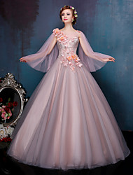 Princess Bateau Neck Court Train Lace Tulle Wedding Dress with Crystal Beading Pearl Appliques Lace Flower by QZ