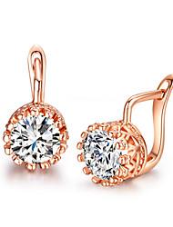 Brincos Curtos Cristal Zircônia Cubica imitação de diamante Liga Formato Coroa Prata Ouro Rose Jóias Para 2pçs