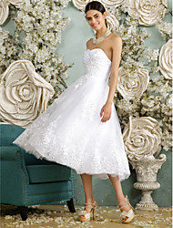 A-Line Sweetheart Tea Length Tulle Wedding Dress with Beading Appliques Button by LAN TING BRIDE®