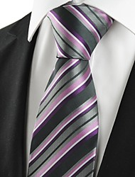 New Striped Purple Grey Classic Men's Tie Necktie Wedding Holiday Gift #1010