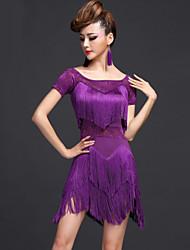 povoljno -Latino ples Haljine Žene Seksi blagdanski kostimi Chinlon Viskoza S resicama Haljina Kratke hlače