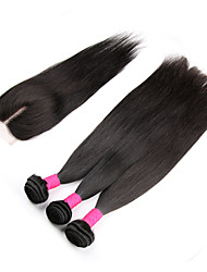 3Bundles with Closure 10-30inch Unprocessed Brazilian Virgin Hair Straight Human Hair with Top Closure