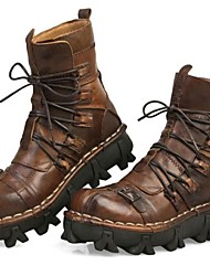 Men's Boots Comfort Fall Winter Nappa Leather Hiking Shoes Party & Evening Light Brown 1in-1 3/4in