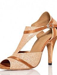 Women's Dance Shoes Latin / Jazz Shoes / Salsa / Samba Satin Sparkling Glitter Heel Gold Customizable