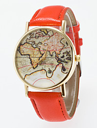 cheap -Women's Fashion Watch Quartz Hot Sale PU Band Vintage World Map Black Blue Red Orange Brown Green Pink Purple Yellow Khaki