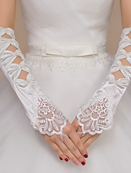 cheap -Lace Satin Elbow Length Glove Bridal Gloves Party/ Evening Gloves With Beading Embroidery Bow