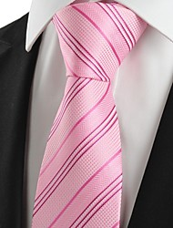 cheap -KissTies Men's New Striped Pink Microfiber Tie Necktie For Wedding Party Holiday With Gift Box