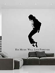 "4119  PVC Vinyl Wall Sticker ""Micheal Jackson, His Music Will Live Forever"" Loving Gift For Fans Home Decoration"