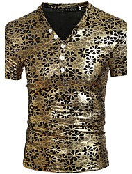 preiswerte -Herren T-shirt-Einfarbig Freizeit / Sport Polyester Kurz-Gold / Silber