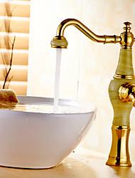 Недорогие -Современный По центру Одной ручкой одно отверстие in Титан с влогоотталкивающим покрытием Ванная раковина кран