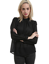 cheap -Women's Formal Casual Spring Blouse,Solid Round Neck Long Sleeves Polyester Medium