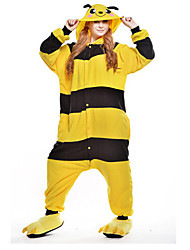 cheap -Kigurumi Pajamas Bee Onesie Pajamas Costume Polar Fleece Yellow Cosplay For Adults' Animal Sleepwear Cartoon Halloween Festival / Holiday