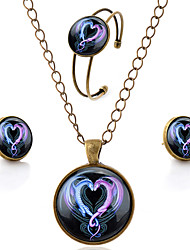 Lureme® Time Gem Series Simple Vintage Style Ssangyong Heart Shaped Pendant Necklace Stud Earrings Bangle Jewelry Sets