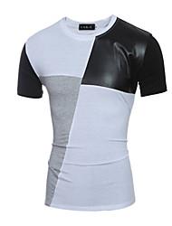 Herren T-shirt-Patchwork Freizeit Baumwolle / Polyester Kurz-Weiß / Grau