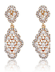 cheap -18k Gold/Silver Crystal Pearl Drop Earrings for Lady Wedding Party Fine Jewelry