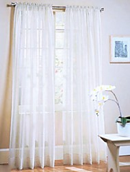 cheap -Rod Pocket One Panel Curtain Country , Flocking Living Room Polyester Material Sheer Curtains Shades Home Decoration