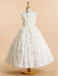 cheap -A-Line Tea Length Flower Girl Dress - Lace Sleeveless Jewel Neck with Flower by LAN TING BRIDE®