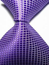Vestuário para homem / noite violeta verificado jacquard tecido gravado gravata