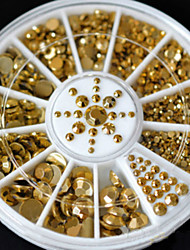 cheap -Fashion Wonem New Hot Sale 5 Sizes DIY 3D Nail Art Decoration Acrylic Glitter Gold Rhinestone