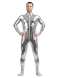Shiny Zentai Suits Morphsuit Ninja Zentai Cosplay Costumes Silver Solid Leotard/Onesie Zentai Spandex Shiny Metallic UnisexHalloween