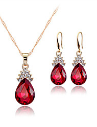 cheap -Women's Crystal Jewelry Set - Rose Gold, Crystal Drop Statement, Party, Work Include Drop Earrings Pendant Necklace White / Red / Blue For Party Birthday Gift