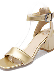 cheap -Women's Shoes Chunky Heel Heels/Sling back/Open Toe Sandals Office & Career/Dress White/Silver/Gold