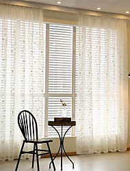 Grommet Top Pencil Pleat Two Panels Curtain Country Modern European , Embroidery Living Room Poly / Cotton Blend Material Sheer Curtains