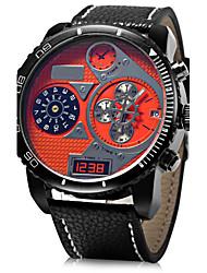 baratos -JUBAOLI Homens Relógio Militar Relógio de Pulso Quartzo Relógio Casual Couro Banda Analógico Amuleto Preta / Azul / Vermelho - Amarelo Vermelho Azul Um ano Ciclo de Vida da Bateria / SSUO LR626
