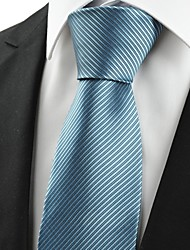 Striped Teal Blue Men's Tie Formal Business Necktie Wedding Holiday Gift #0023