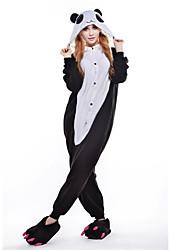 cheap -Adults' Kigurumi Pajamas Panda Onesie Pajamas Costume Polar Fleece Black Cosplay For Animal Sleepwear Cartoon Halloween Festival / Holiday / Christmas