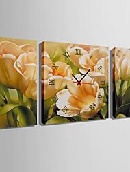 Quadratisch Modern/Zeitgenössisch Wanduhr,Anderen Leinwand 30 x 60cm(20inchx20inch)x2pcs+ 60 x 60cm(24inchx24inch)x1pcs