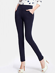 Women's Solid Blue / Red / Black Skinny Pants,Casual / Day Bodycon Fashion Slim Thin Feet pants Polyester