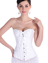 cheap -Women's Hook & Eye Plus Size Overbust Corset-Jacquard