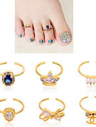cheap -1pcs Bow Crown Rhinestone Diamond Toe Nail Rings Gold Alloy Elegant Women Nail Jewelry Decoration Tools