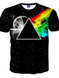 preiswerte -Herren T-shirt-Druck Freizeit Polyester Kurz-Schwarz
