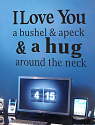 cheap -4096 I Love You & a hug- quotes Removable Cute Art Characters Writing Vinyl PVC Decal Wall Sticker Home Decor